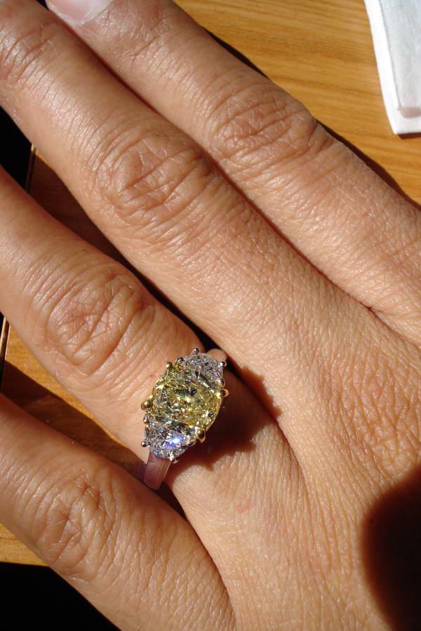 Lovely Fancy colored diamond rings| Yellow diamond engagement ring | half  AL69